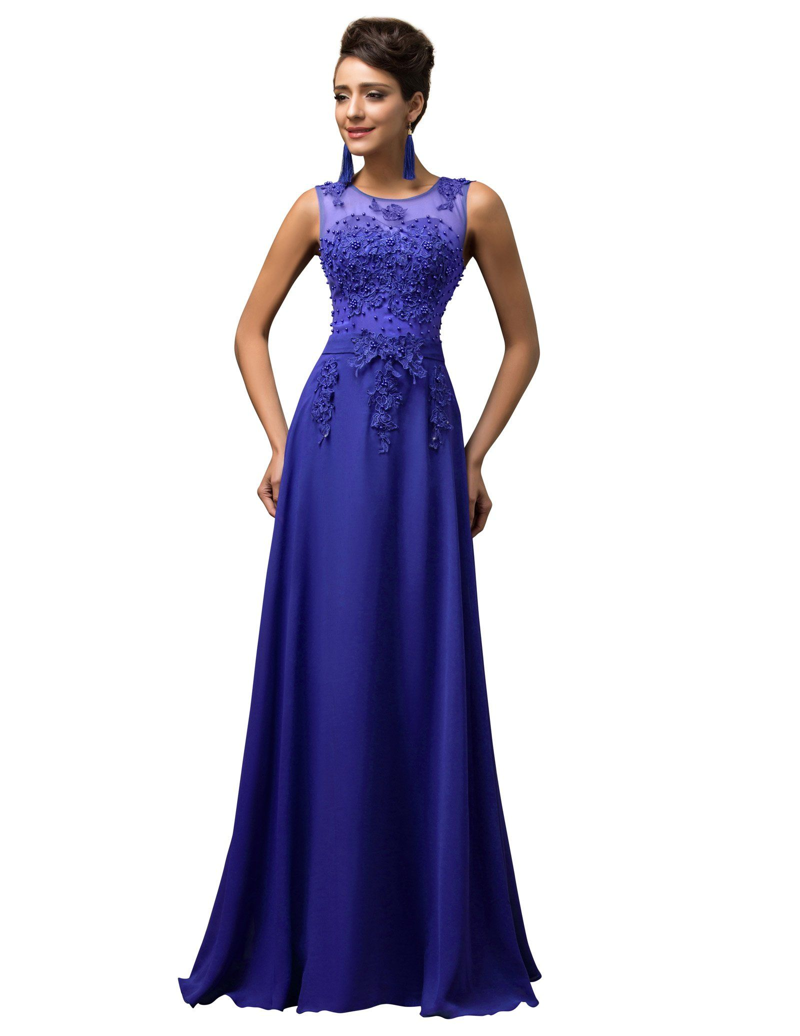 Amazon.com: Grace Karin® Women V-Back Beads Long Gown Evening Prom ...