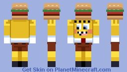 Spongebob Holding A Krabby Patty Minecraft Skin Minecraft Skins - Skins para minecraft pe quiksilver