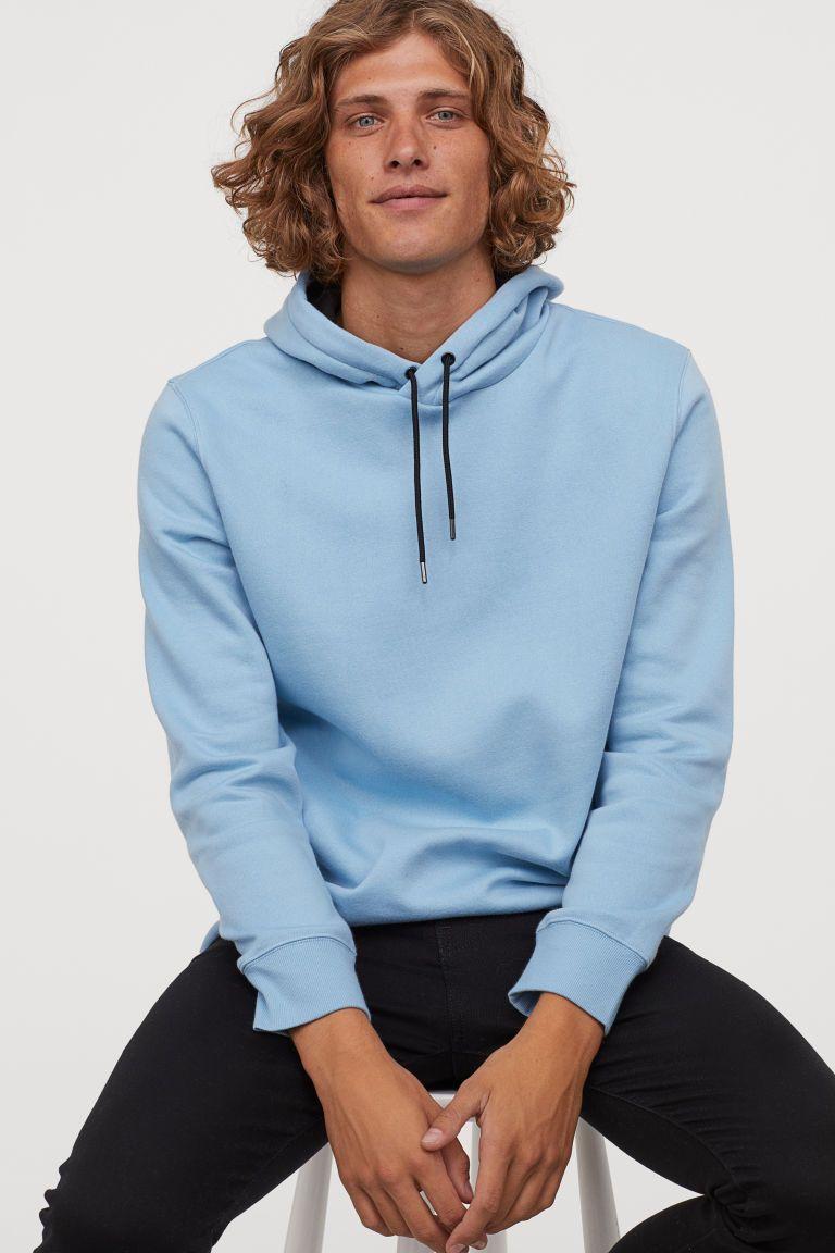 Hoodie Light Blue Men H M Us Blue Sweatshirt Outfit Light Blue Sweatshirt Sweatshirt Outfit Men [ 1152 x 768 Pixel ]