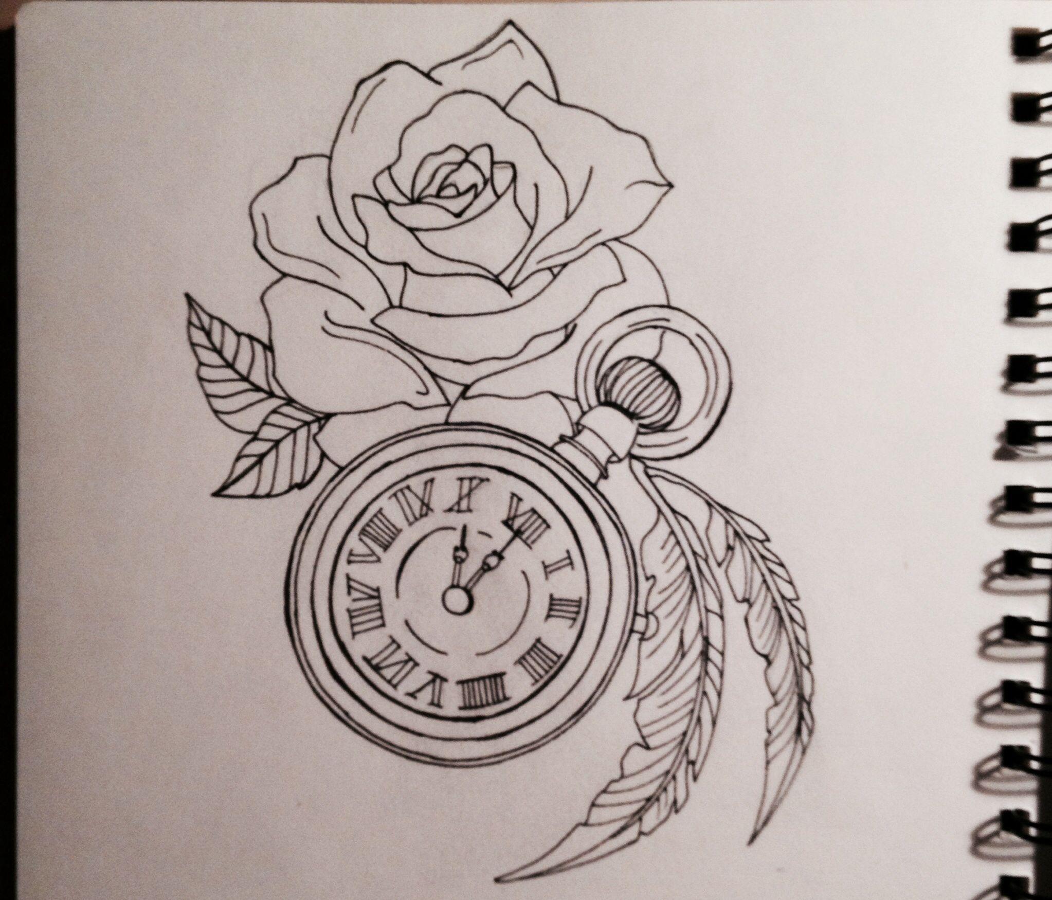 Clock Rose Tattoo Desing Shoulder Tattoo Clock Tattoo Design Clock And Rose Tattoo