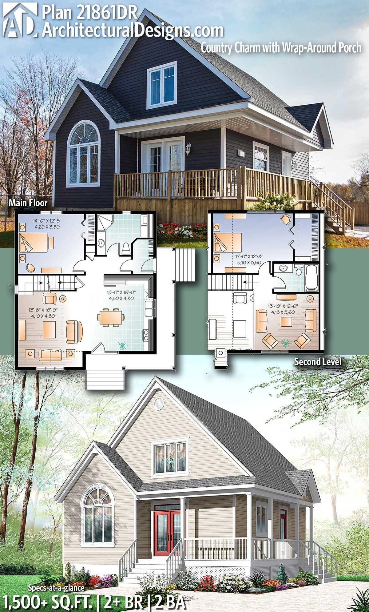 Architectural designs house plan 21861dr gives you 2 beds 2 baths and over 1500 sq ft of heated living space ready when you are