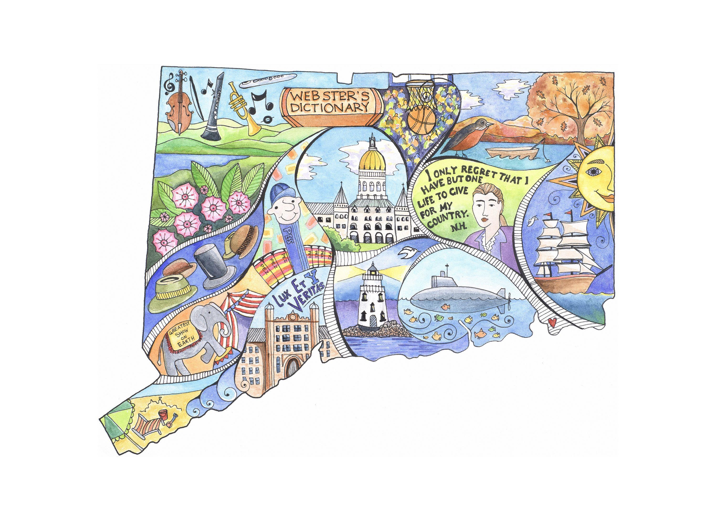 Connecticut Connecticut Map Personalized Art Customizable Etsy Travel Art Fine Art Giclee Prints Personalize Art