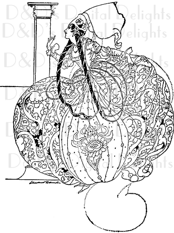 Fairy Tale Princess Vintage Illustration by Charles Robinson.