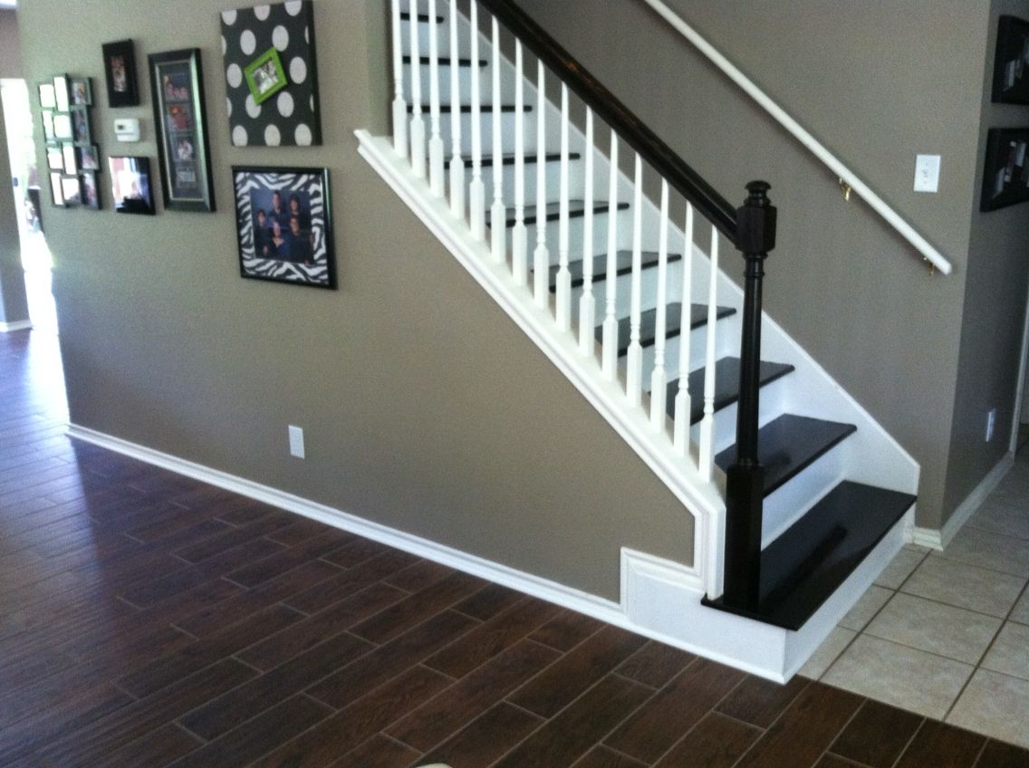 Ceramic tile that mimics hand scraped hardwood dark kona stain on ceramic tile that mimics hand scraped hardwood dark kona stain on stairwell new red dailygadgetfo Image collections