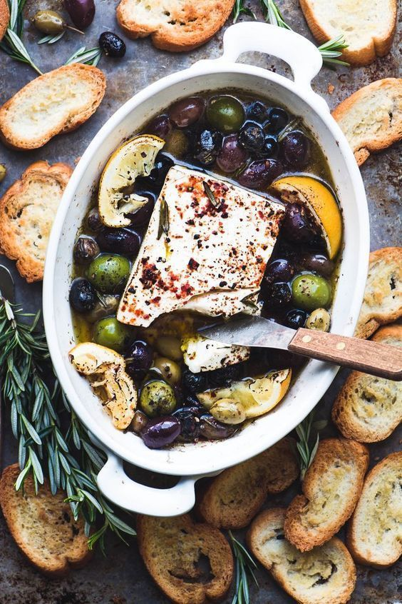 Photo of Baked Feta Cheese with Olives and Lemon