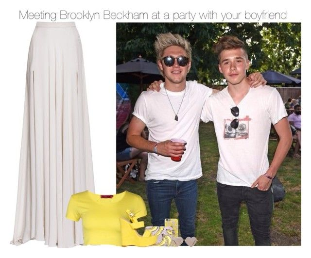 """Meeting Brooklyn Beckham at a party with your boyfriend"" by pizza4life ❤ liked on Polyvore featuring Casetify, Wildfox, Lizzie Fortunato, Elie Saab, Boohoo and Billini"