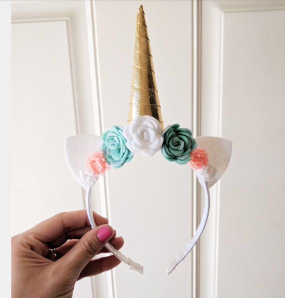 Unicorn Headband Gold Horn Teal White Pink Flowers In 2018