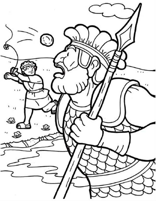 david and goliath coloring pages throwing the stones (