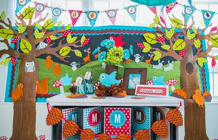 Camping Classroom Decoration : Woodland animals fox squirrel deer bear rabbit raccoon bird
