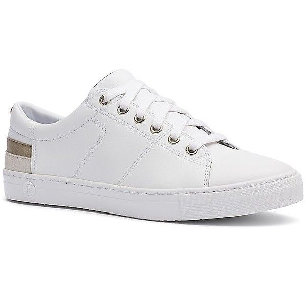 Tommy Hilfiger Gilded White Leather Sneaker (130 CAD) ❤ liked on Polyvore  featuring shoes b27c1ba619c