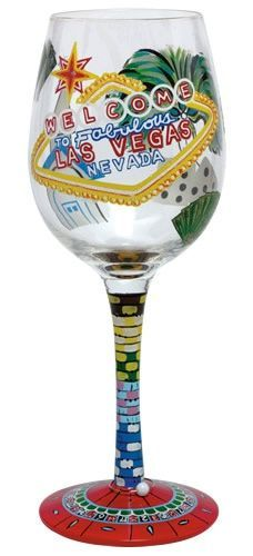 "Las Vegas Wine Glass - this one is actually for my mom to ""toast"" the riches the night before her and the girls play the slots - her favorite hobby!!"