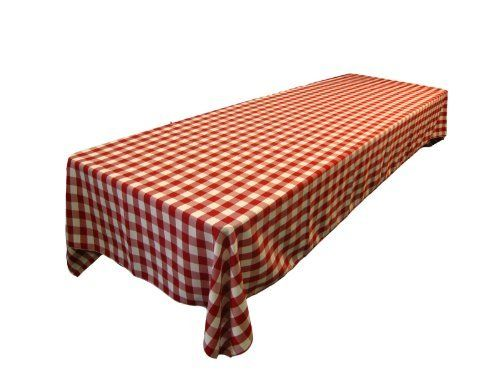 LA Linen Checkered Tablecloth, 60 By 126 Inch, Red By LA Linen