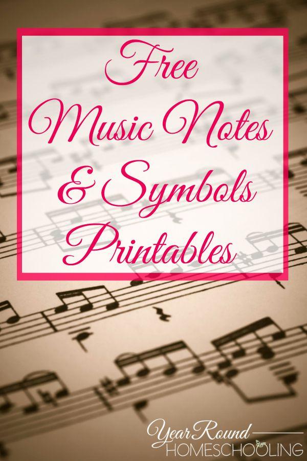 Free Music Notes Symbols Printables Piano Pinterest Music