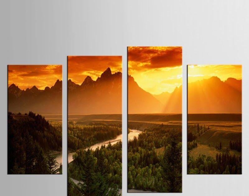 16 Gambar Pemandangan Gunung Indah Us 13 72 51 Off 4 Panel Set Sunset Gunung Indah Lukisan Pemandangan Hd Cetakan Dibingkai Living Di 2020 Pemandangan Gambar Painting