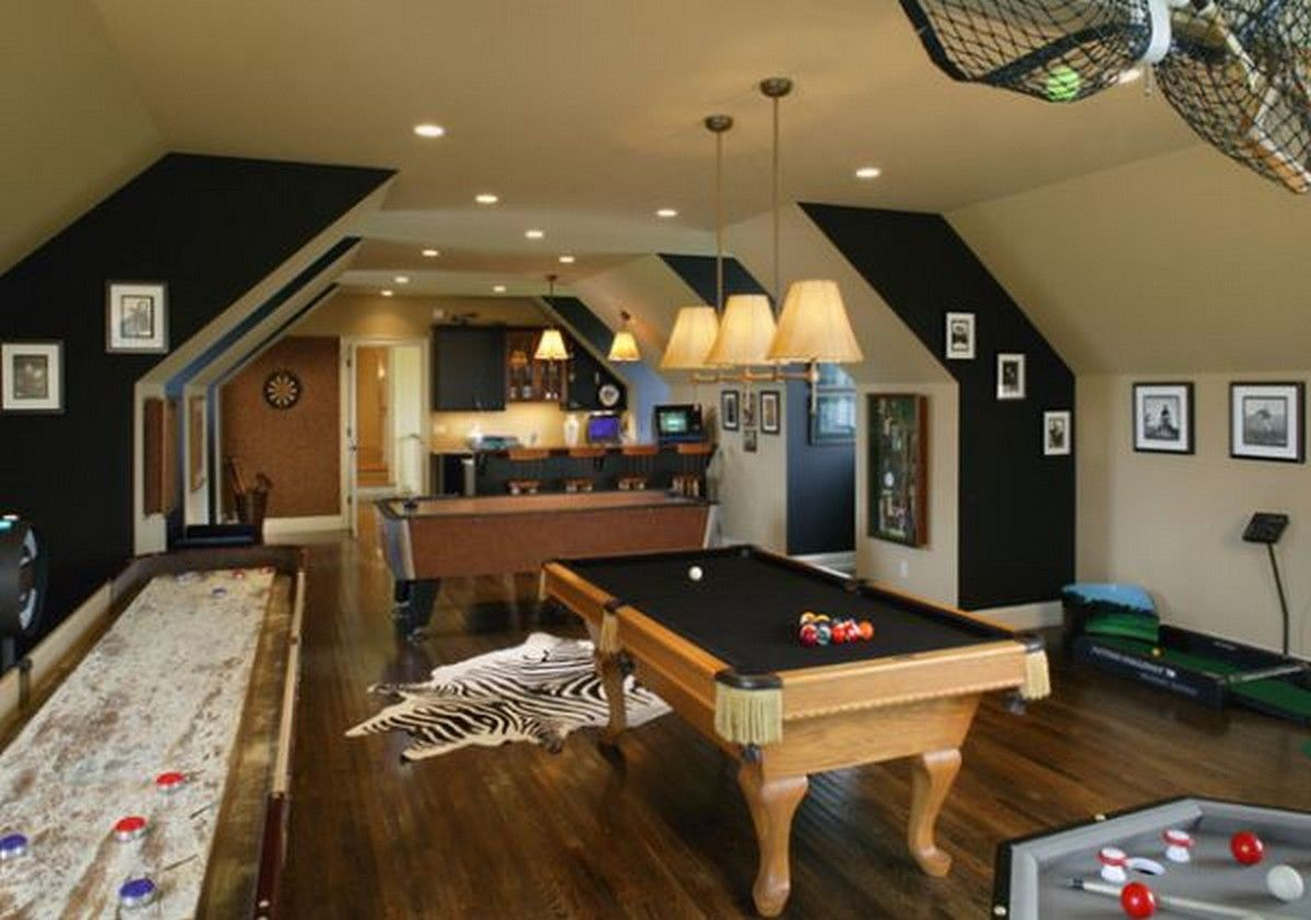 Game Rooms Pool Table Family Room Cowhide Rug Attic Game Room