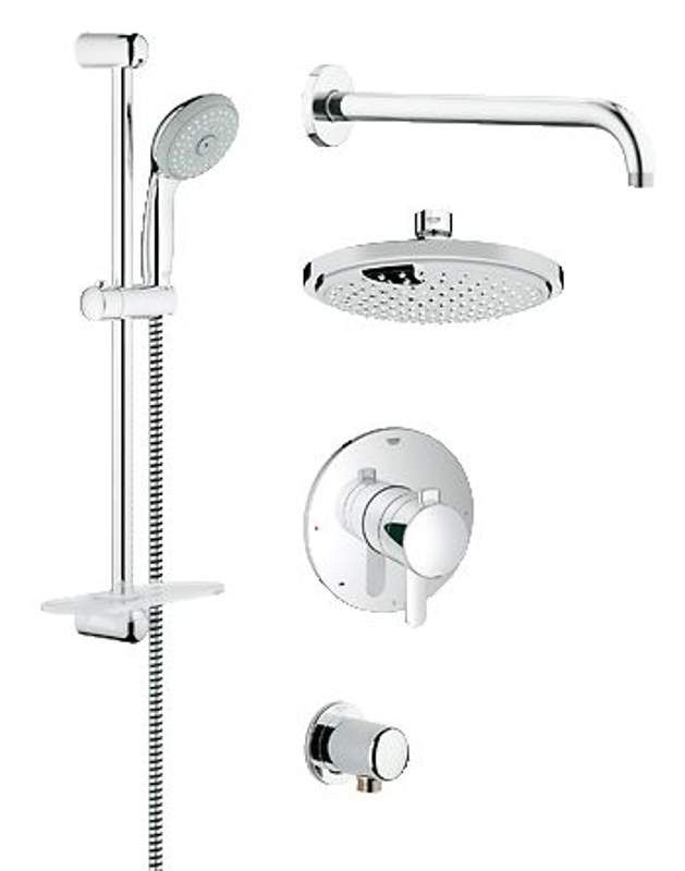 View The Grohe 35 051 GrohFlex Pressure Balanced Shower System   Includes  Shower Head, Hand Shower, Shower Arm, Hose And Wall Supply At  FaucetDirect.com.