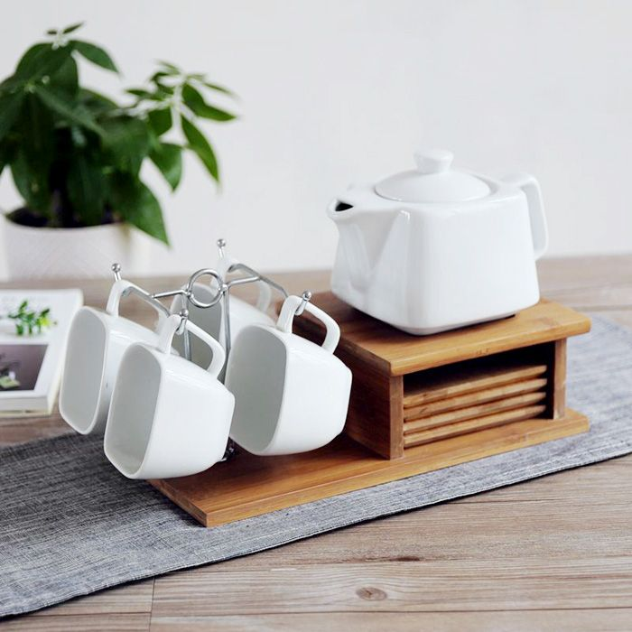 Aliexpress Geometric White Ceramic Porcelain Brief Coffee Tea Cups With Handgrip Bamboo Saucers Stainless Steel Stand Milk Cup