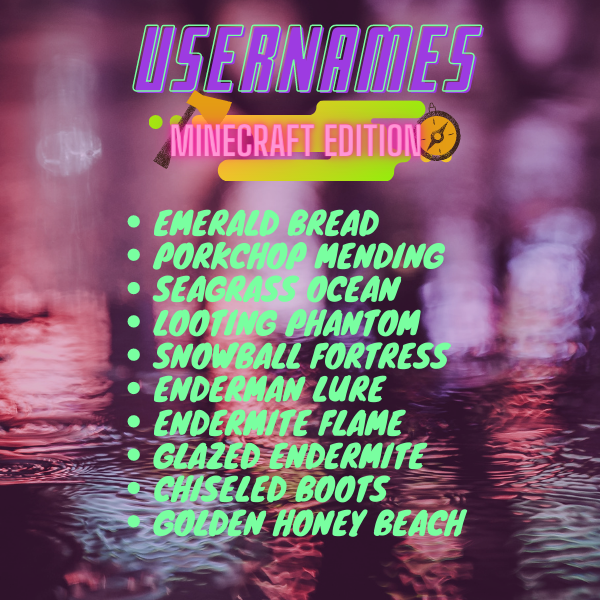 Free Usernames Minecraft Edition Minecraft Golden Honey Sea Grass