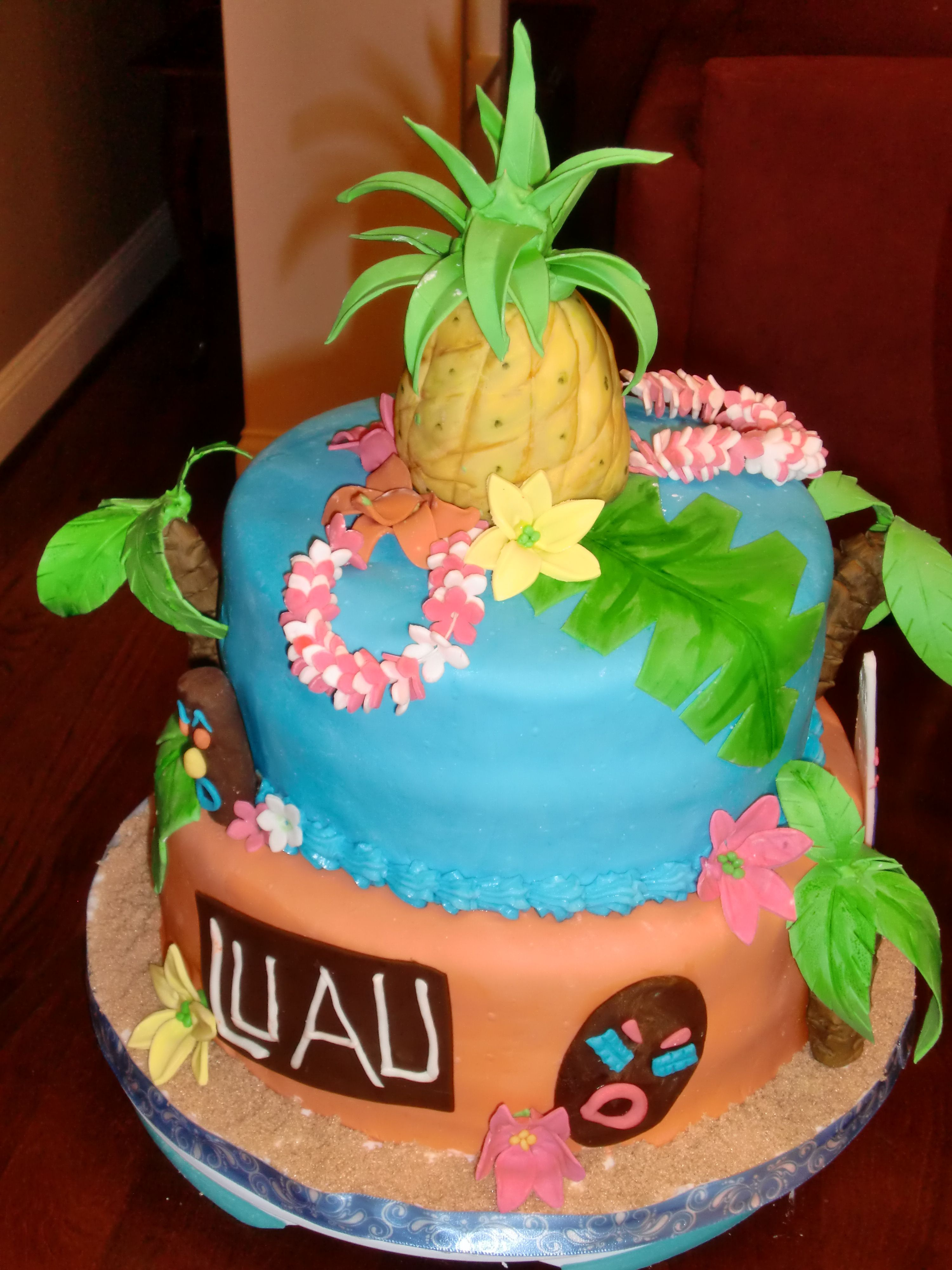 Excellent Luau Cake With Images Luau Cakes Funny Birthday Cards Online Overcheapnameinfo