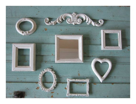 frame grouping miniature frames frame set french country paris chic shabby cottage beach french country - Miniature Frames