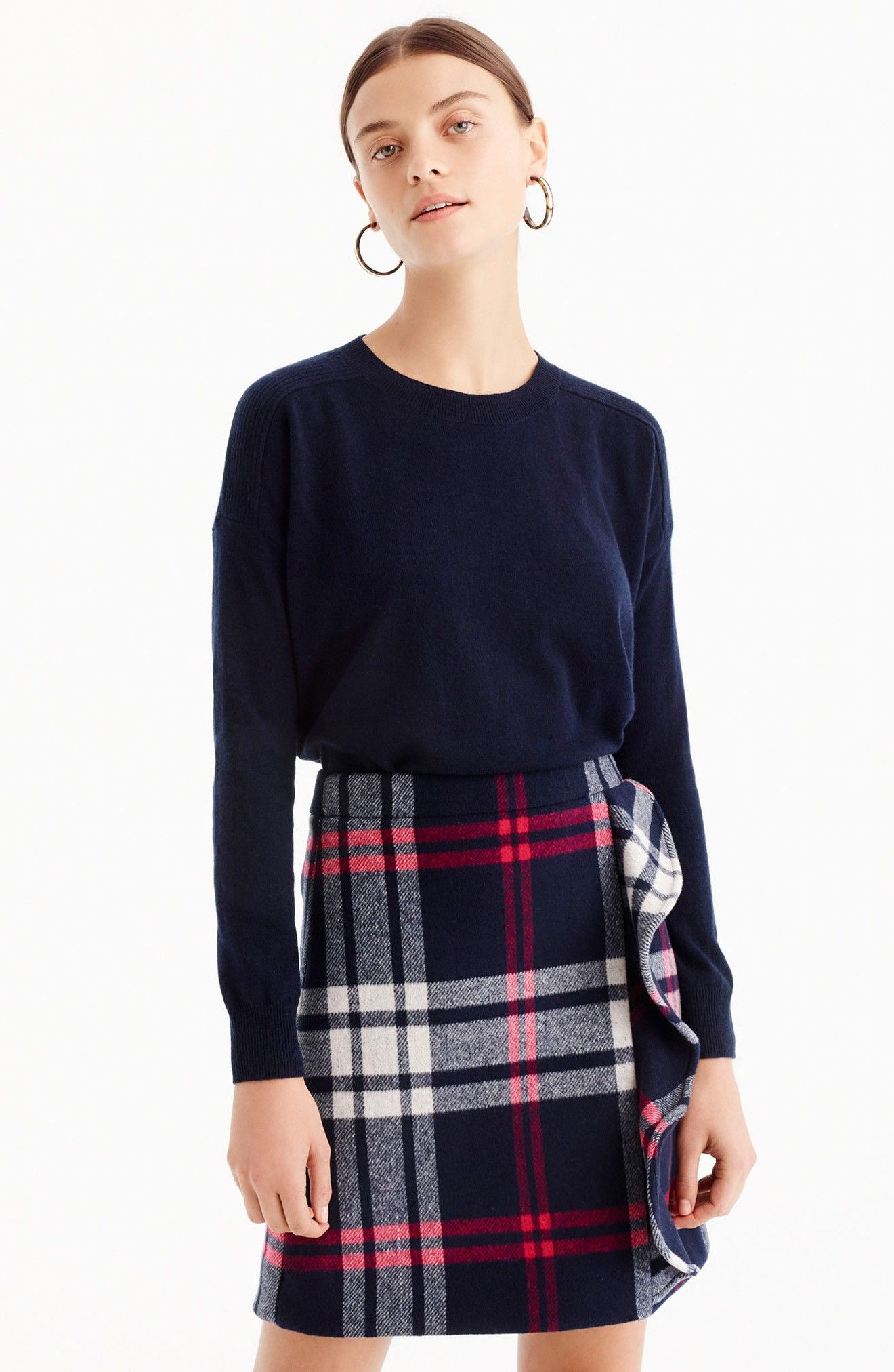 03b9b8aa51 J.Crew Plaid Ruffle Double-Serge Wool Mini Skirt | Fall Style | Mini ...