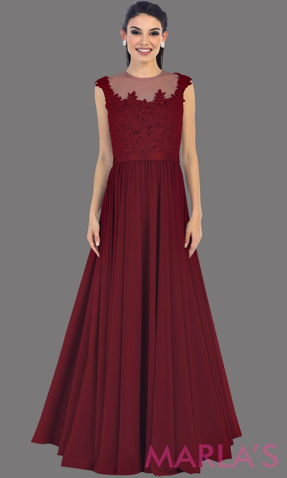 3bf341d43691a Long burgundy flowy dress with sheer lace bodice. It has a high neck and  high back with an illusion neckline. The dark red is a perfect wedding  guest dress ...