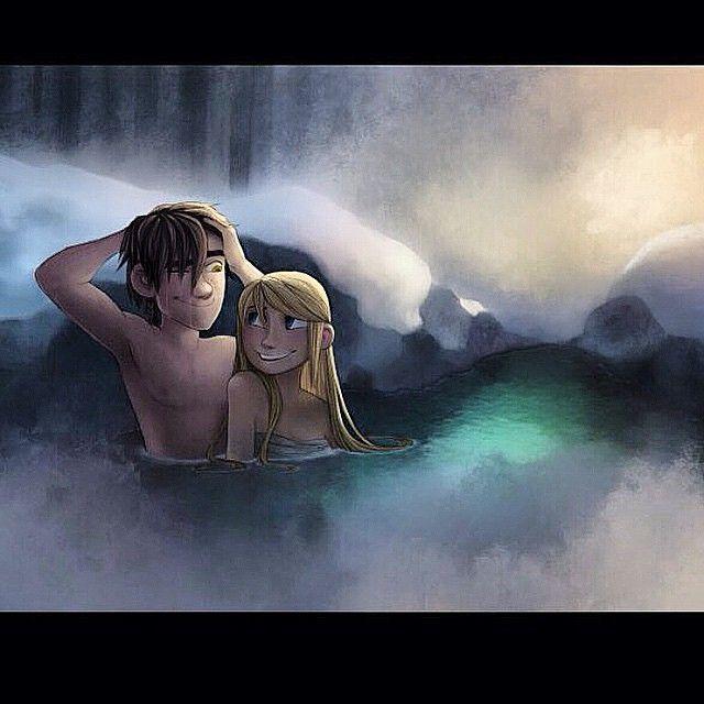 Hiccup and Astrid in a hot spring together | Dragões e Soluço