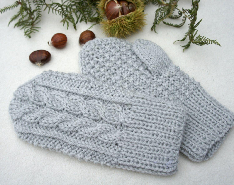 Wool mittens, Knit wool gloves, Winter baby mittens, grey mittens ...