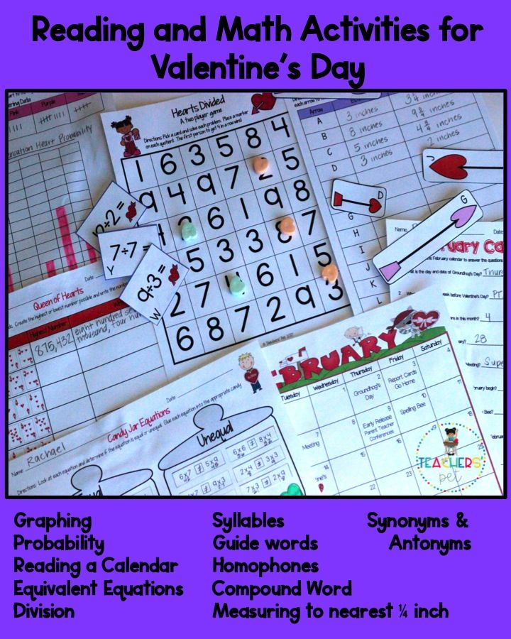 Reading and Math Activities for Valentine\'s Week | Math activities ...