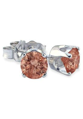 10k White Gold Brown Diamond Stud Earrings