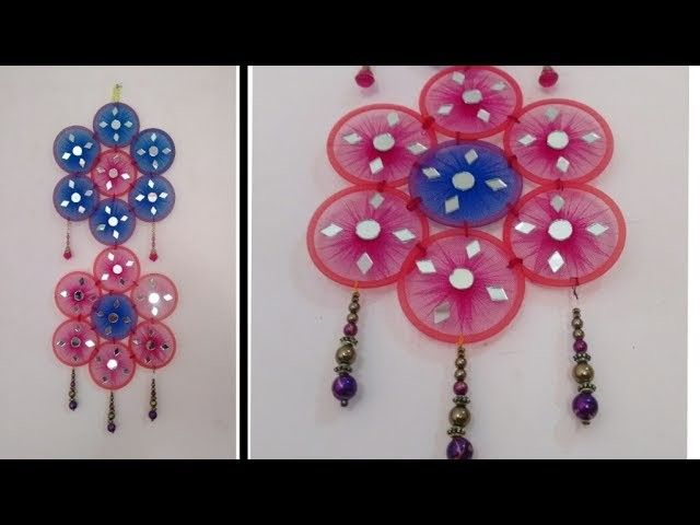 DIY Wall Craft Decoration. make wall hanging with bangles and net ...