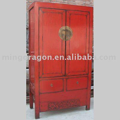 Rojo chino antiguo dos puertas dos cajones del gabinete tallado ...