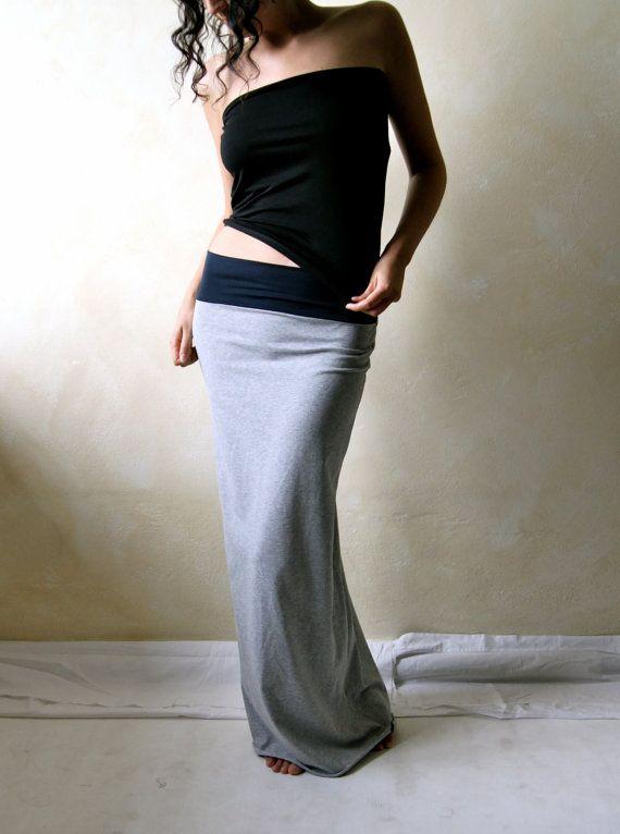 Maxi skirt, Pencil skirt, Jersey skirt, Long skirt, Cotton skirt ...