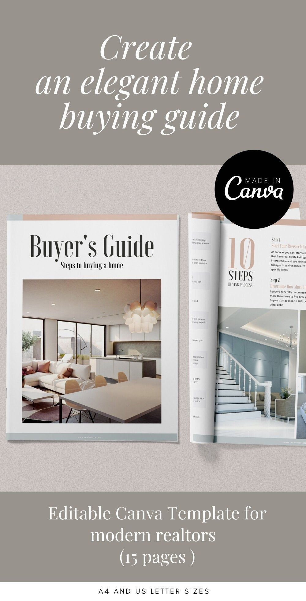 Buyers Guide Template, Real Estate Presentation, Canva editable template, Buyer Home Packet with Questionnaire, House Buying Guide