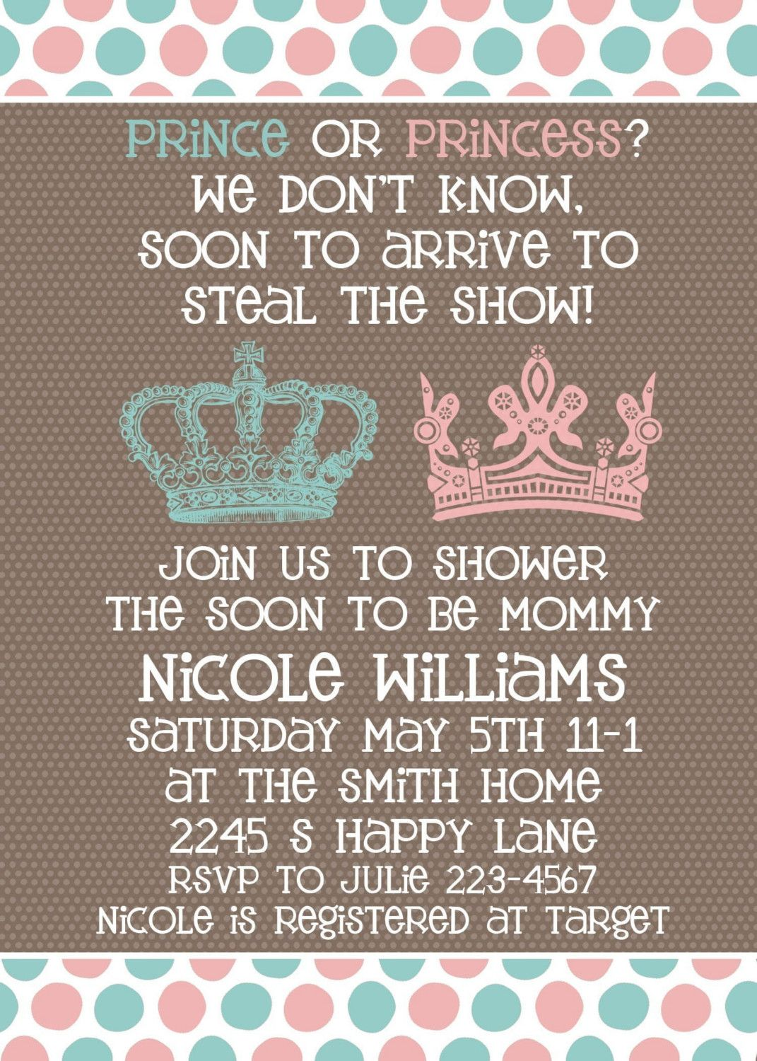 unique homemade baby shower invitation ideas%0A Baby Shower invitation  Neutral Gender Unknown Shower  Prince or  Princess