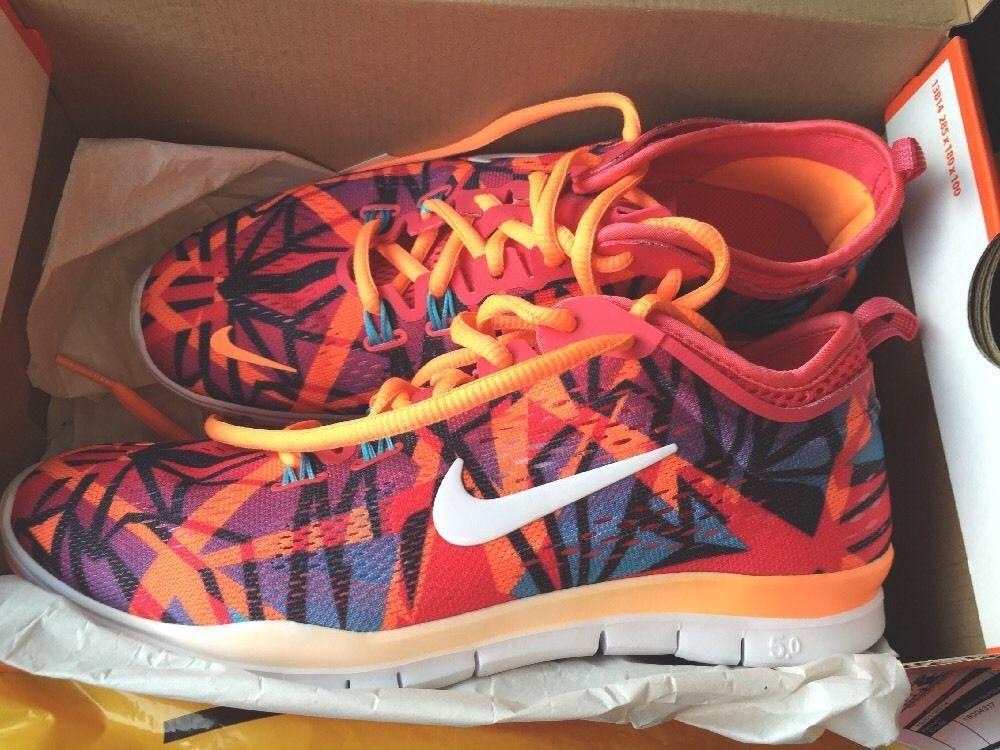 Nike Womens Free 5.0 TR Fit 4 PRT Shoes Atomic Orange/Red/Blue 629832-600 6.5 #Nike #RunningCrossTraining