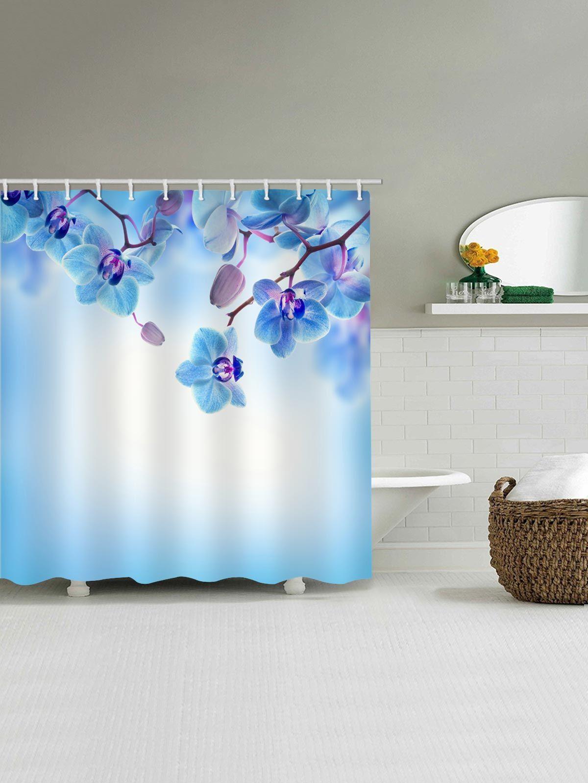 Phalaenopsis Flower Printed Waterproof Shower Curtain   Shower tub ...