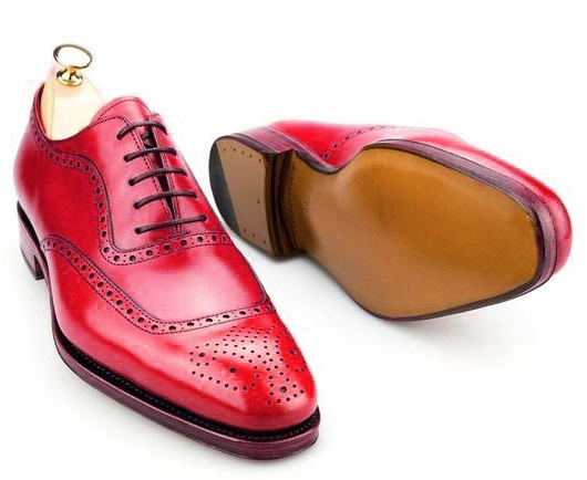 Fait Main Homme Véritable Cuir Rouge Oxford Lace Up Chaussures