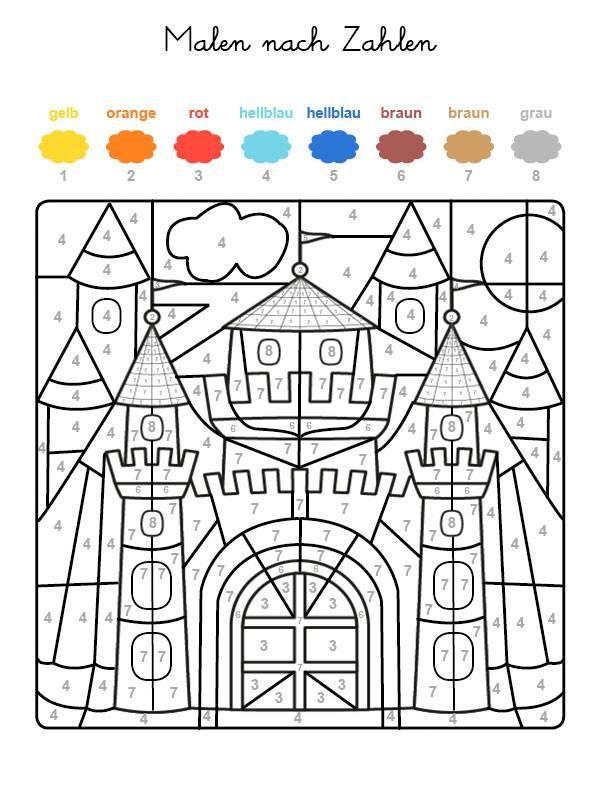 Wenn Ihr Kind das ganze Motiv auf der kostenlosen Malvorlage mit den Farben ausgemalt hat, die den Nummern zugeordnet sind, kommt eine Burg zum Vorschein!