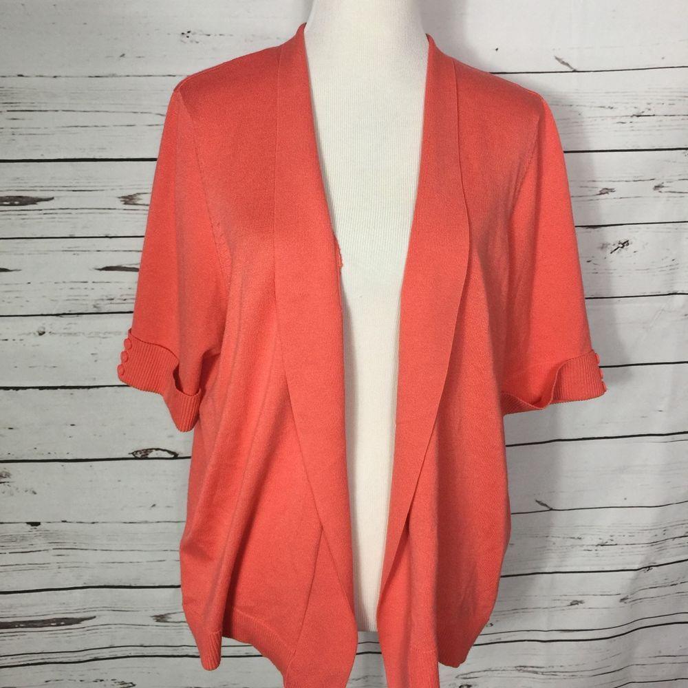 89th & Madison Open Cardigan Sweater Salmon Orange Short Sleeve ...
