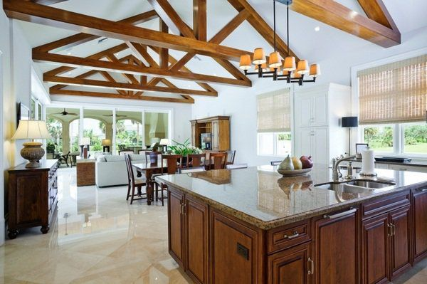 Best Modern Open Plan Kitchen Vaulted Ceiling Exposed Beams 400 x 300
