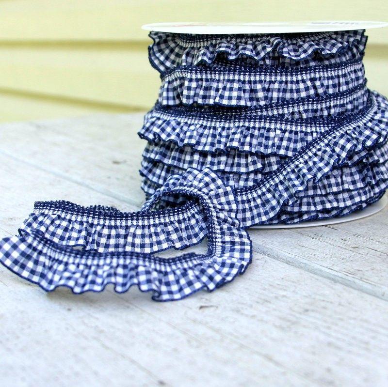 Navy Gingham Ruffle Elastic Ribbon Trim The Fabric Fairy