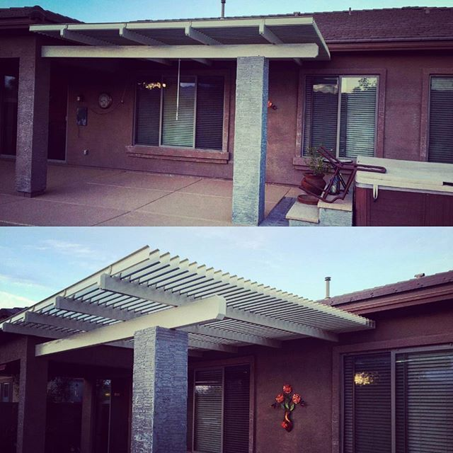 Attached Adjustable Louver Patiocover Installed In The