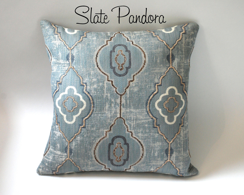 Barkcloth Collection Moroccan Influenced Pillows Dusty Etsy Blue Pillows Decorative Throw Pillows Cream Decorative Pillow