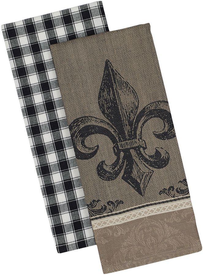 Design Imports Fleur De Lis Dish Towels Set Of 2 Dish Towels