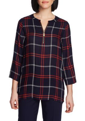 Chaus 3/4 Sleeve Plaid Zipper Top - Evening Navy - S Average #zippertop