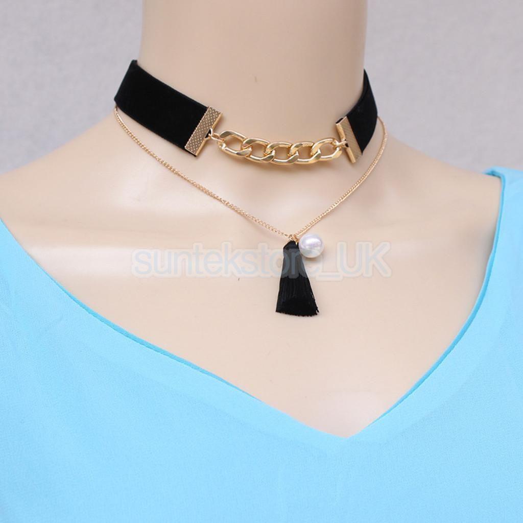 Fashion Women Lady Dragonfly Pendant Bib Collar Chunky Ribbon Necklace Chain