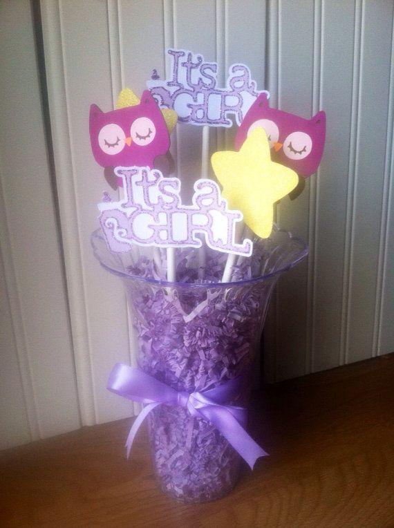 Owl baby shower centerpiece, purple owl, it's girl