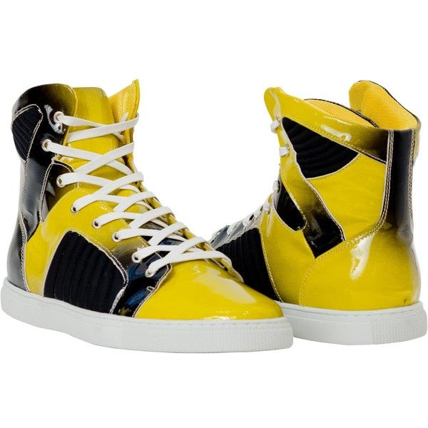 PAOLO IANTORNO Annette Sun Yellow Patent Leather High Top Sneakers ($189) ❤ liked on Polyvore featuring shoes, sneakers, harry potter, yellow, yellow patent shoes, shock absorbing shoes, yellow sneakers, patent leather high tops and high top trainers