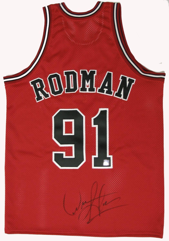 buy popular de851 84152 Dennis Rodman Signed Authentic Bulls Red Jersey   ettuet.com ...
